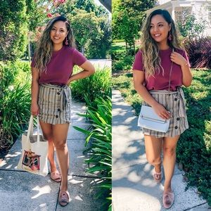 Beige & Blue Striped Button Skirt